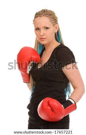 woman with red boxing gloves on a white background