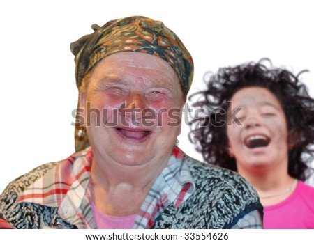 Woman with red interesting face and little girl are laughing - stock photo