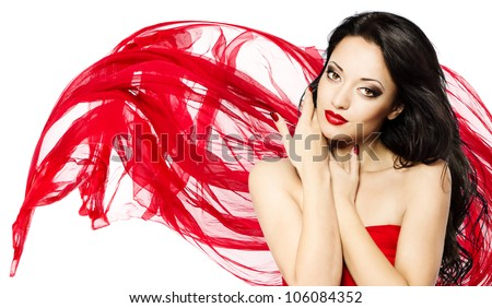 Woman with red lips and waving scarf. Beautiful close up portrait - stock photo