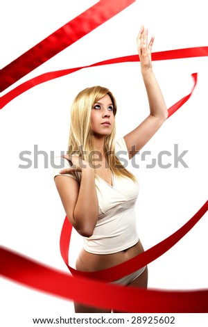 woman with red satin ribbon - stock photo