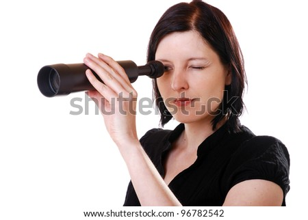 woman with refracting telescope