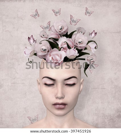 Woman with roses in her mind - 3d illustration - stock photo