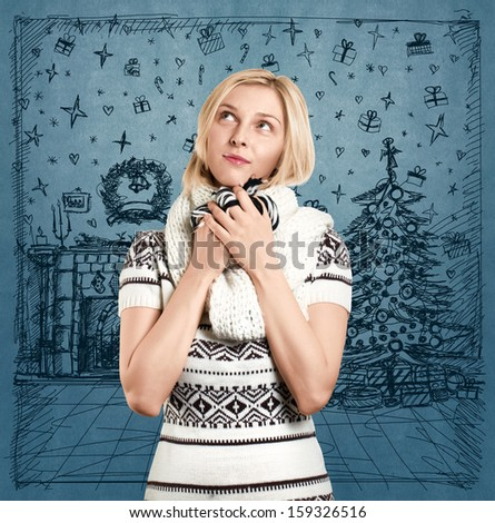 Woman with Santa hat against sketch background waiting for Christmas - stock photo