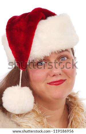 Woman with Santa hat and is ready for Christmas