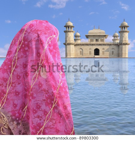 Woman with sari near a palace in India. - stock photo