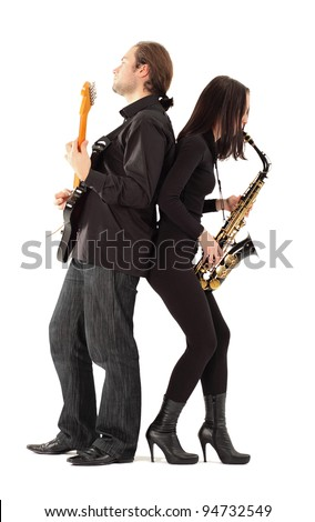 woman with saxophone and man with guitar on a white background.