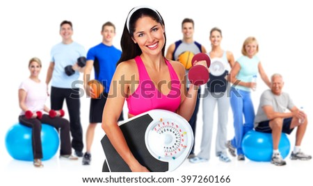 Woman with scales over white background. - stock photo