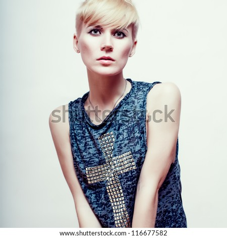 woman with short stylish hairstyle - stock photo