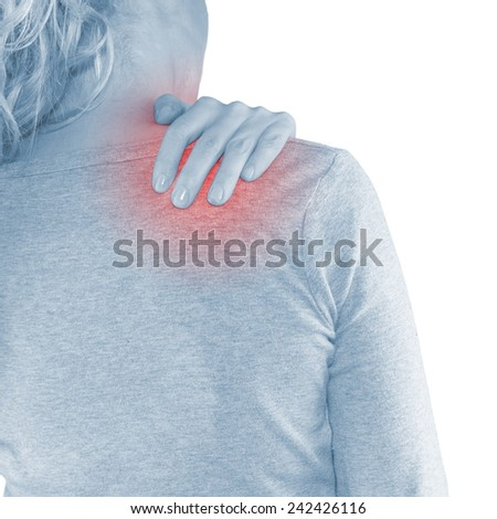 woman with shoulder pain or stiffness - stock photo