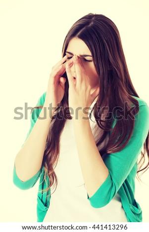 Woman with sinus  pain - stock photo