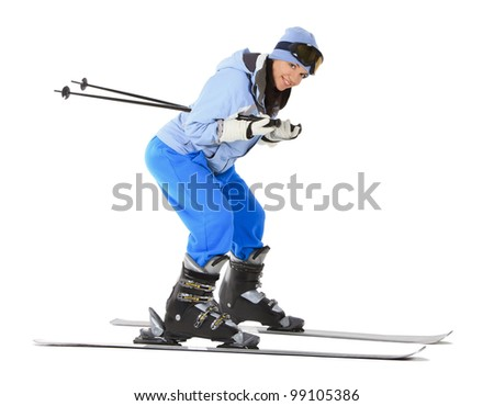 woman with ski over white background - stock photo