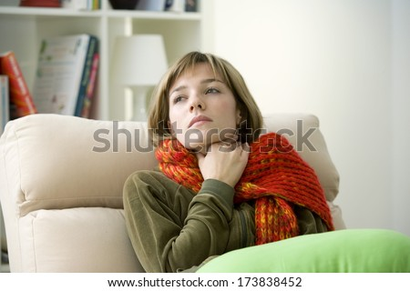 Woman With Sore Throat - stock photo