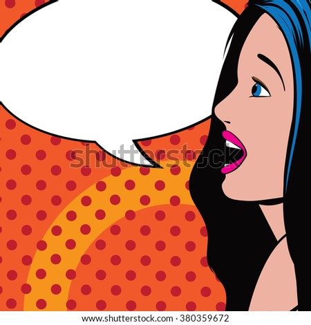 Woman with speech bubble for your message. Pop art retro style. - stock photo