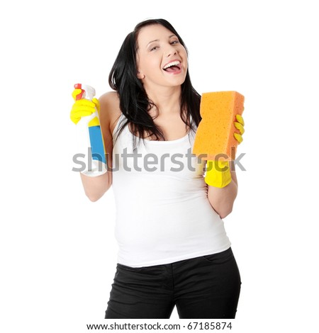 Woman with sponge and spray. Isolated on white background - stock photo