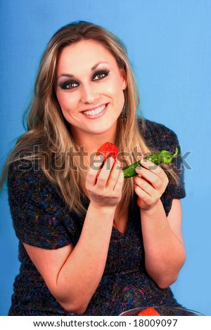 woman with strawberry - stock photo