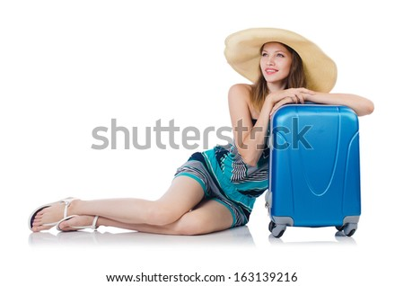 Woman with suitacases preparing for summer vacation - stock photo