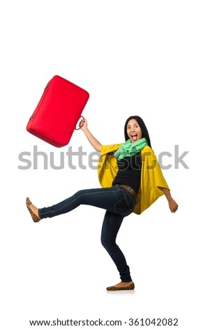 Woman with suitcases on white - stock photo