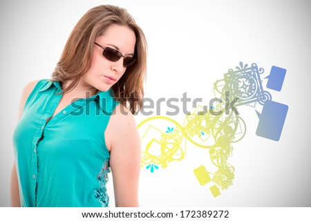 woman with sunglasses with color background design - stock photo
