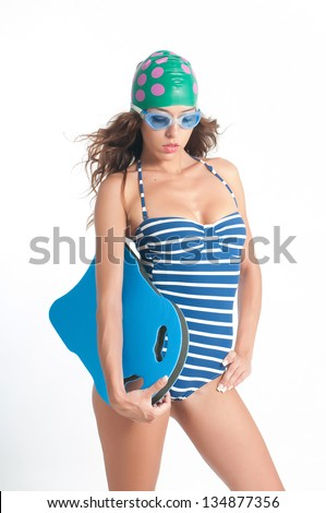 woman with swim wear in white background - stock photo