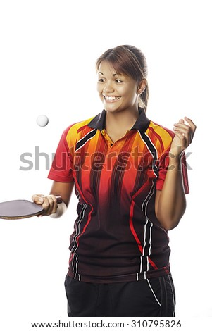 Woman with table tennis racket - stock photo