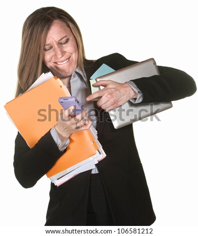 Woman with tablet and folders having problems multi-tasking