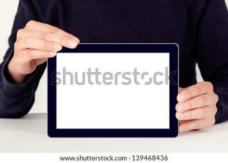 Woman with Tablet PC - stock photo