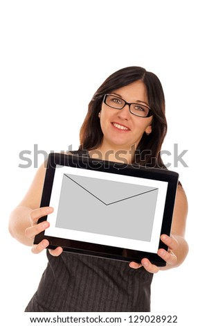 woman with tablet pc and envelope / Business - stock photo