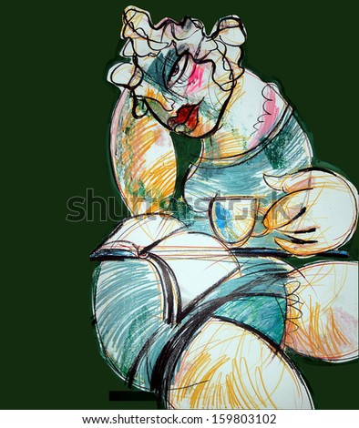 Woman with the book, drawing abstract - stock photo