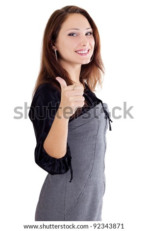 Woman with thumb up isolated on white - stock photo