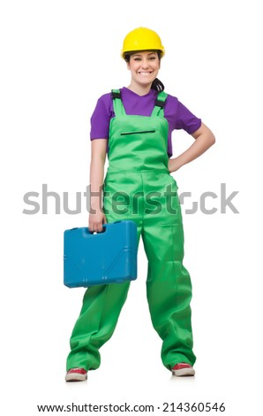 Woman  with toolkit isolated on the white - stock photo