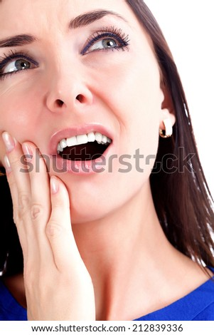 Woman with toothache, white background - stock photo