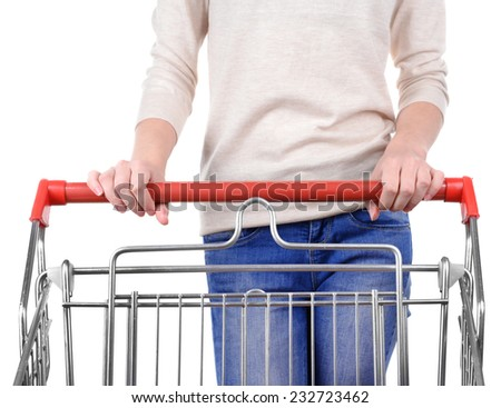 Woman with trolley isolated on white - stock photo