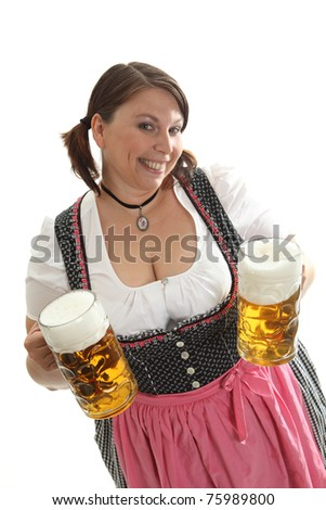 Woman with two beer mugs