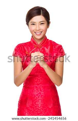 Woman with two hand finger cross for congratulation