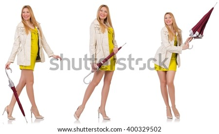 Woman with umbrella isolated on the white - stock photo