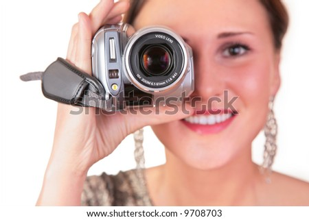 woman with video camera - stock photo