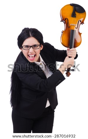 Woman with violin isolated on the white - stock photo