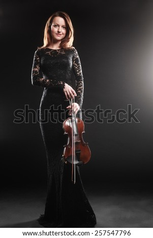 Woman with violin player violinist music performer - stock photo