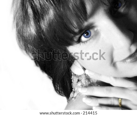 Woman with wedding ring, tinted Black & White portrait - stock photo