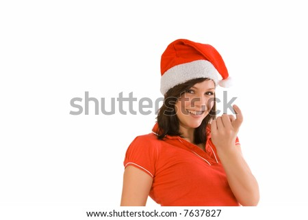 woman with xmas outfit - stock photo