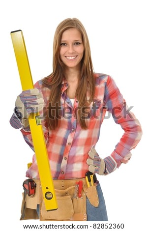 Woman with yellow water balance and tool is in Pose - stock photo