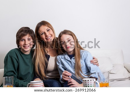 Woman with your two childrens  - stock photo