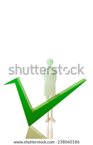 Woman witk ok symbol - stock photo