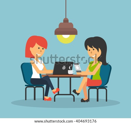 Woman work with laptop and smartphone. Woman and work, business woman, work with smartphone, work with laptop, business phone, work technology mobile, working businesswoman with device illustration - stock photo