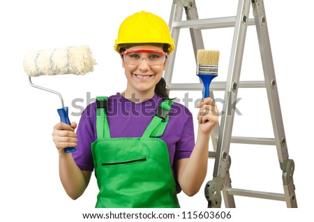 Woman worker with ladder on white - stock photo