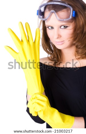 Woman worker with yellow rubber gloves. Isolated on white. - stock photo
