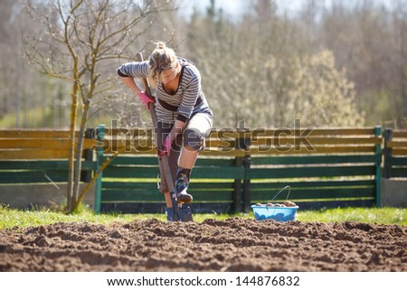 Woman working in garden, with a shovel planting potatoes - stock photo