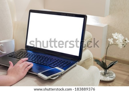 Woman working on a laptop at home - stock photo