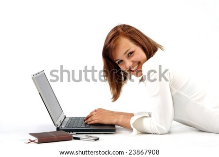 Woman working on laptop - shot in studio white background