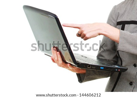 Woman working with a computer - stock photo